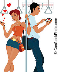 Young couple sexting on a subway - Young woman and young men...