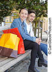 young couple shopping in the city