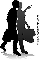 Young Couple Shopping Silhouettes - People silhouette of a...