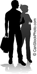 Young Couple Shopping Silhouettes