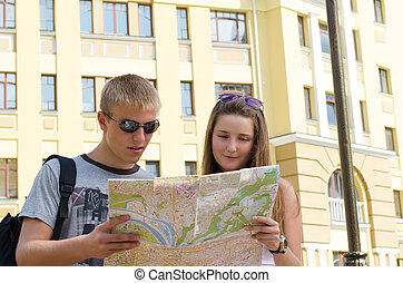 Young couple sightseeing on vacation