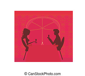 Young couple silhouette flirt and drink champagne in...