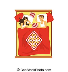 Young couple sleeping on the bed vector Illustration