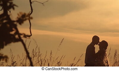 Young couple softly kissing on the background of a sunset in the field