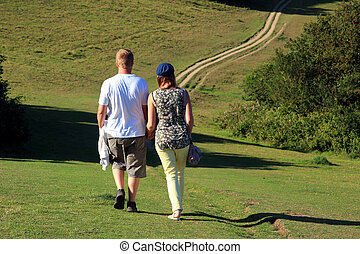 Young couple strolling