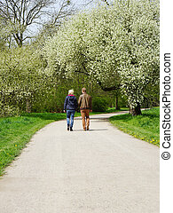 young couple taking a walk