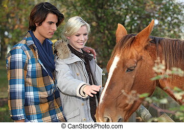 young couple taking care of a horse