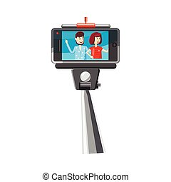 Young couple taking selfie photo with a stick icon