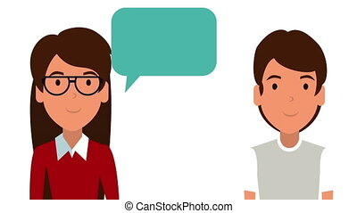 young couple talking with speech bubble