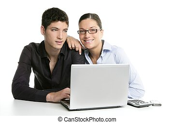 Young couple teamwork cooperation with laptop