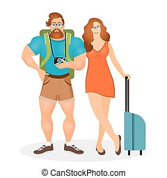 Young couple the travelers. Bearded Hipster male in eyeglasses and camera together with his girlfriend. Vector illustration eps 10 isolated on white background. Flat cartoon style.