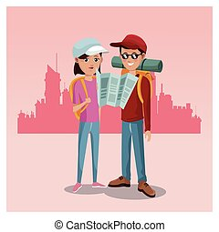 young couple tourist map rucksack cap traveler urban background