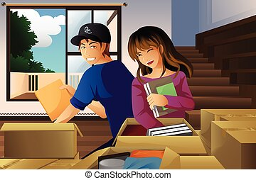 Young couple unpacking boxes - A vector illustration of ...