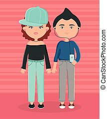 young couple urban style characters