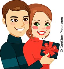 Young Couple Valentine Day Present