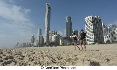 Young couple visit in Surfers Paradise Australia - Couple...