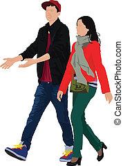 Young couple walking