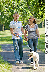 Young Couple Walking Dog - Happy Young Couple Walking Their...