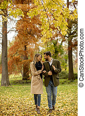 Young couple walking in the autumn park