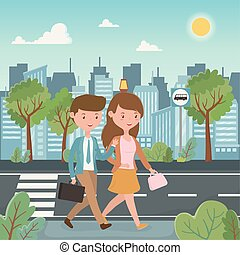 young couple walking in the street characters