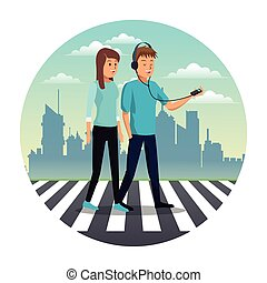 young couple walking street urban background