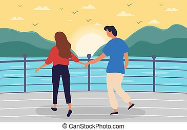 Young couple of man and woman walking together on sea promenade. Couple in love. Girl and boy holding hands. Flat cartoon vector illustration