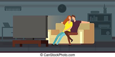 Young couple watching tv on sofa in modern living room vector illustration