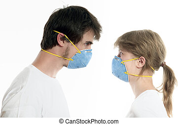 Over Respirators And Man White In Young Woman Couple Background