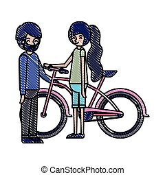 young couple with bicycle avatars characters vector ...
