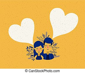 young couple with hearts characters