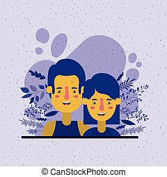 young couple with leafs decoration characters vector ...