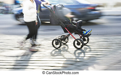 Young couple with pram