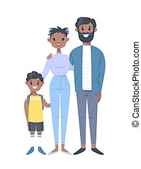 Young couple with son. Hand drawn black woman, man and boy. Flat style vector illustration family. Cartoon characters