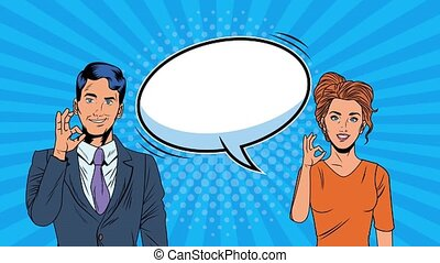 young couple with speech bubble pop art style animation