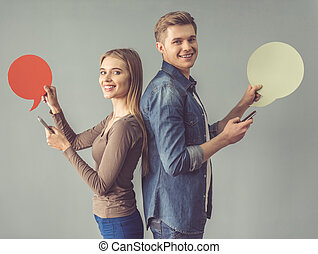 Young couple with speech bubble