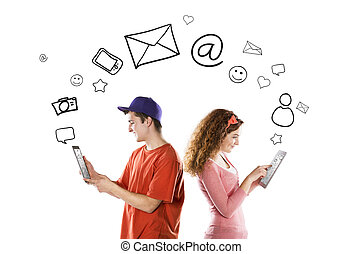 Young couple with tablets - Beautiful young couple with...