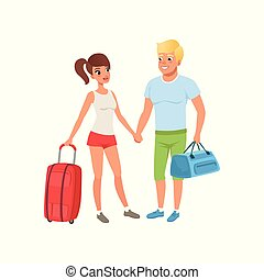 Young couple with travel bags, people traveling together during summer vacation vector Illustration on a white background