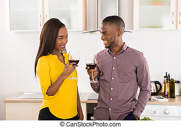 Young Couple With Wineglasses
