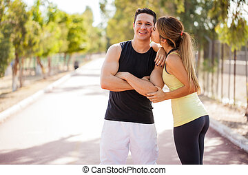 Young couple working out together