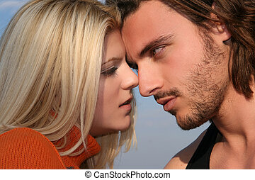 Young couple - Young blonde couple in love ready to kiss