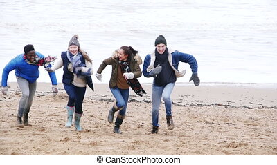 Young Couples Run On Winter Beach - Two young couples laugh...