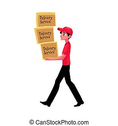 Young courier, delivery service worker carrying pile of boxes, packages