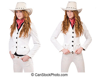 Young cowgirl isolated on white
