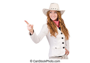 Young cowgirl pressing virtual buttons isolated on white
