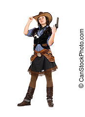Young cowgirl with a gun