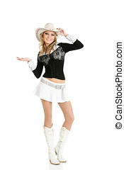 Young cowgirl woman dancing isolated over white