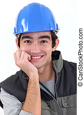 young craftsman smiling