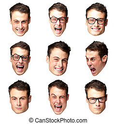 young crazy man faces collection over white