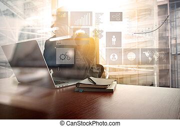 Young creative designer man working at office with computer laptop as concept