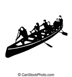 young crowd rowing in a canoe